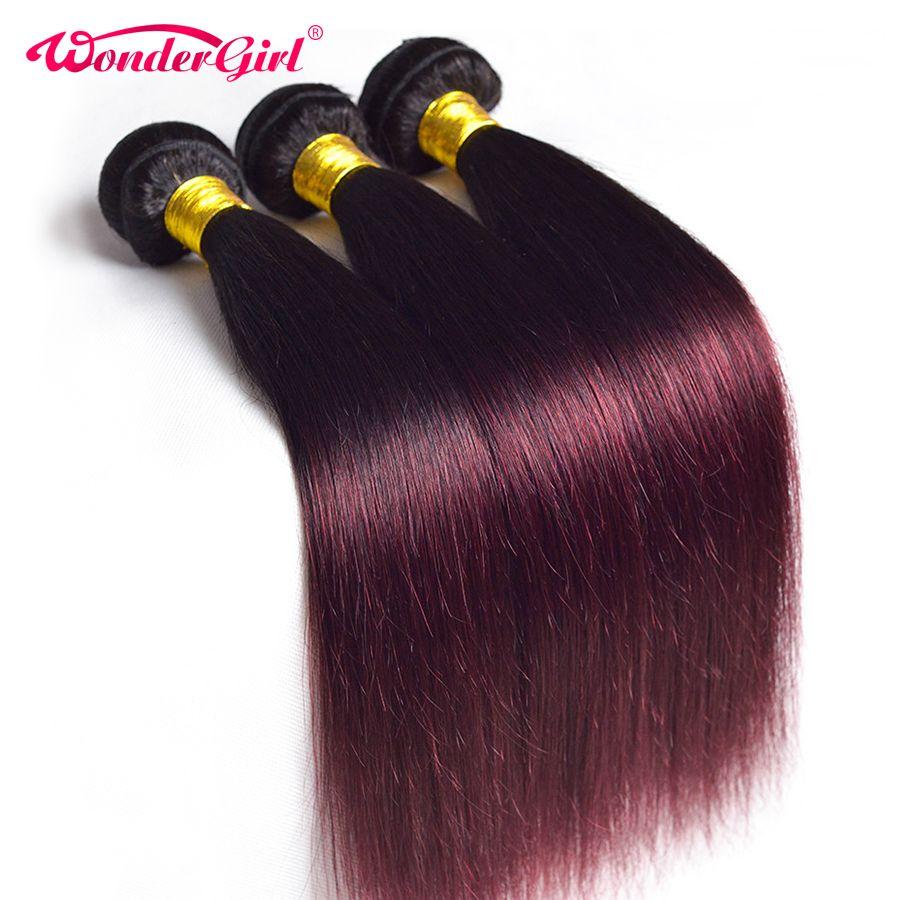 Wonder girl Ombre faisceaux de cheveux raides 1B 99J/Bourgogne Deux Tons Brésilien tissage de cheveux humains Bundles Peut Acheter 3/4 Faisceaux Non Remy
