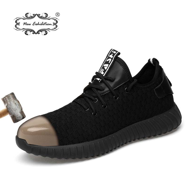 New exhibition men Fashion Safety Shoes Breathable flying woven Anti-smashing steel toe caps Anti-piercing fiber mens work Shoes
