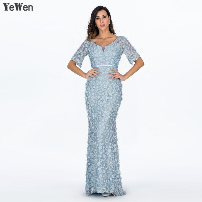 Meerjungfrau Kurzen Ärmeln Luxus Abendkleider Blumen Perlen Party Prom Formale Kleid Frauen Elegante Kleider 2018 Prom Kleid YeWen
