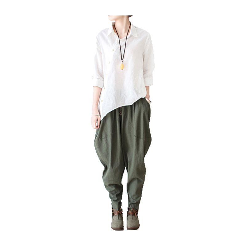 2017 Linen Pants Autumn Winter Women Harem Pants Female <font><b>Leisure</b></font> Style Bloomers Loose Trousers Ladies' Causal Pants Cotton Capris