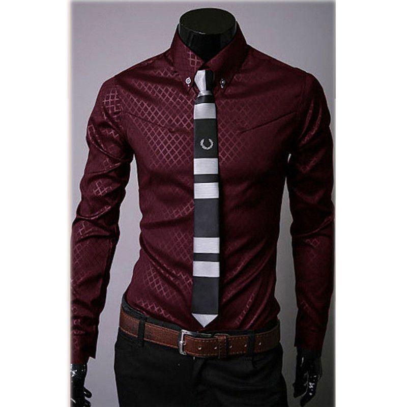 De Los Hombres de moda de Lujo Camisas Ocasionales Adelgazan Las Camisas de Vestir de Manga Larga Tops Botón