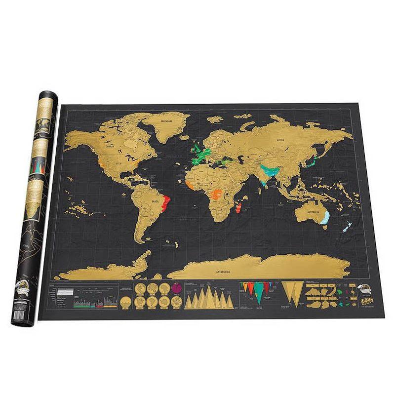 Carte à gratter gratter monde voyage carte affiche feuille de cuivre Journal personnalisé Journal grande taille avec emballage de cylindre