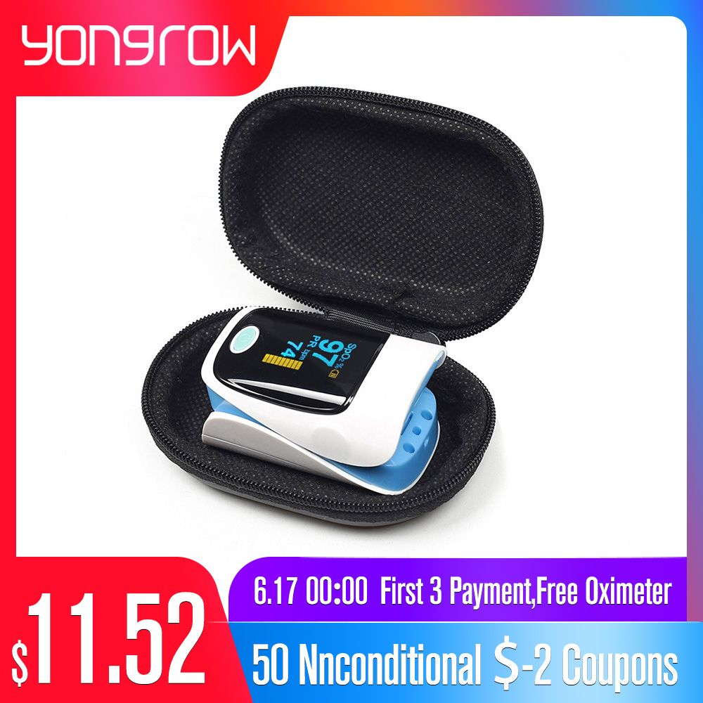 Yongrow Medical Household Digital Fingertip pulse Oximeter Blood Oxygen Saturation Meter Finger SPO2 PR Monitor CE Portable