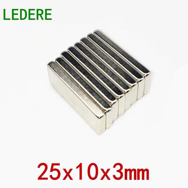 LEDERE 10/50pcs Magnet 25x10x3 Strong N52 Neodymium Magnets Block Rare Earth Powerful Permanet Magnet 25x10x3mm 25*10*3