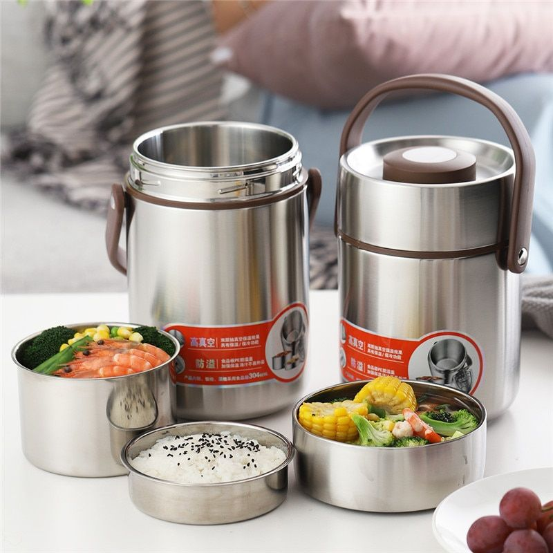 ONEISALL 2L Thermos Essen Jar Container Thermische Isolierung Lunch Box Edelstahl Vakuum Glaskolben Thermo Flasche Leck-Beweis