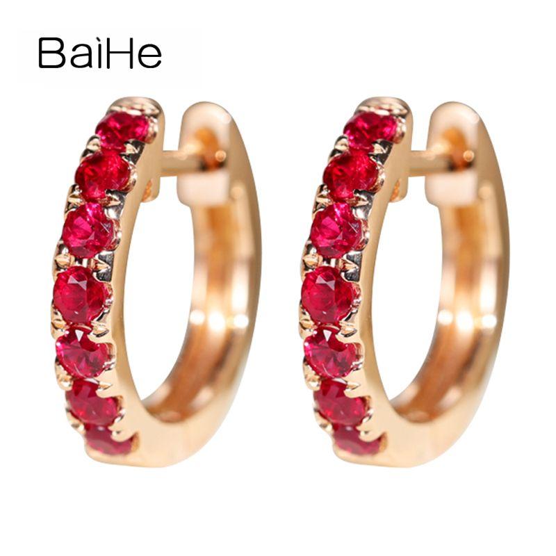 BAIHE Solide 14 karat Rose Gold 0.5ct H/SI Runde 100% Echte Natürliche Rubin Verlobung Trendy Feine Schmuck Elegante geschenk Stud Ohrringe