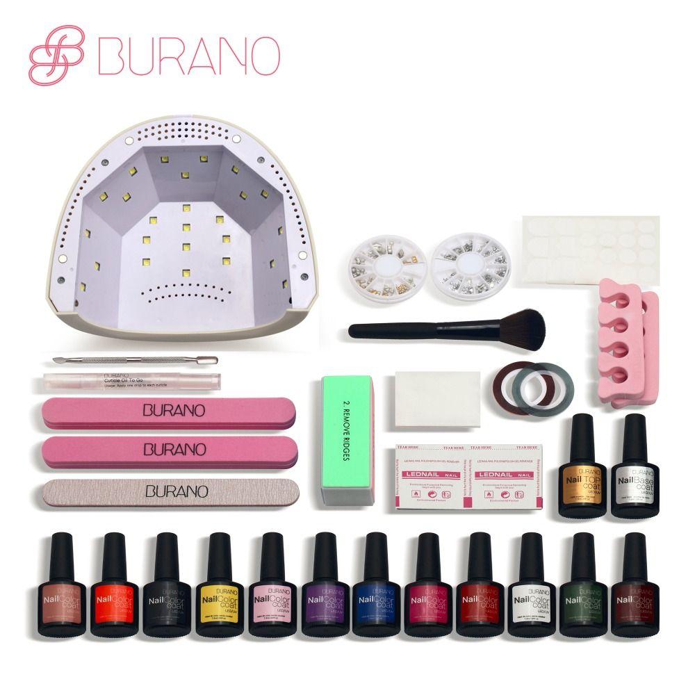 Burano 48w led lamp timer nail dryer choose 12 colors uv gel polish nail art kit set uv gel polish manicure set