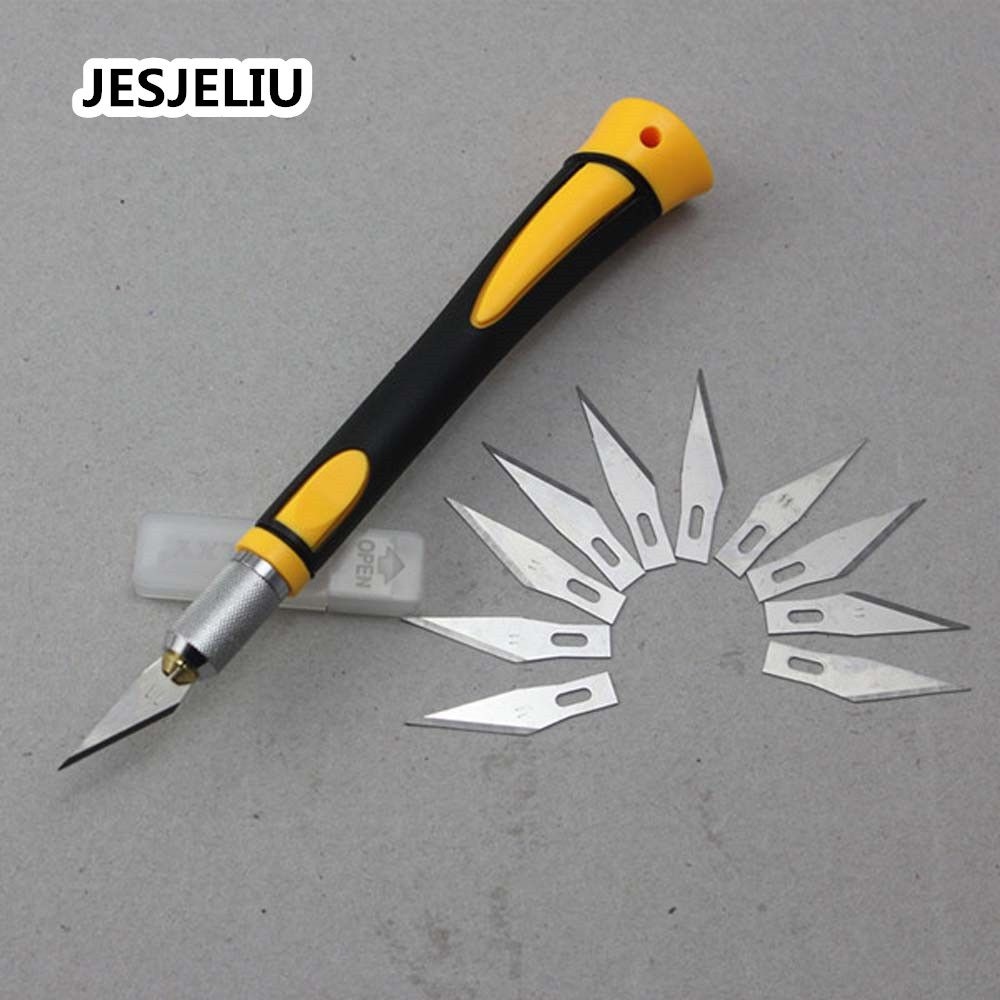 HOT Carving Handle With 10 Pcs SK5 Blades Wood Carving DIY Tools Fruit Food Craft Utility Knife Cutting Supplies