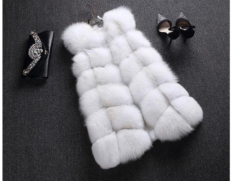 Лия Мех животных Для женщин 100% натуральная полным ходом кожи Роскошные Фокс Мех животных длинный жилет Мода