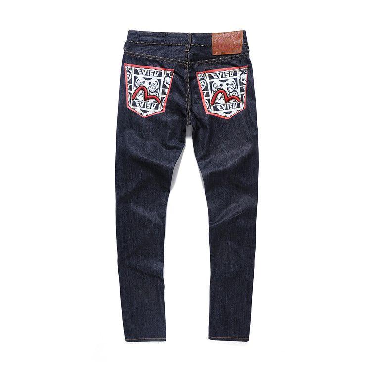 Evisu 2018 Männer hipster jeans Lässige Mode Hosen Zipper Männer Taschen Jeans Gerade Lange Klassische Tiefblauen Jeans Für Männer 6213
