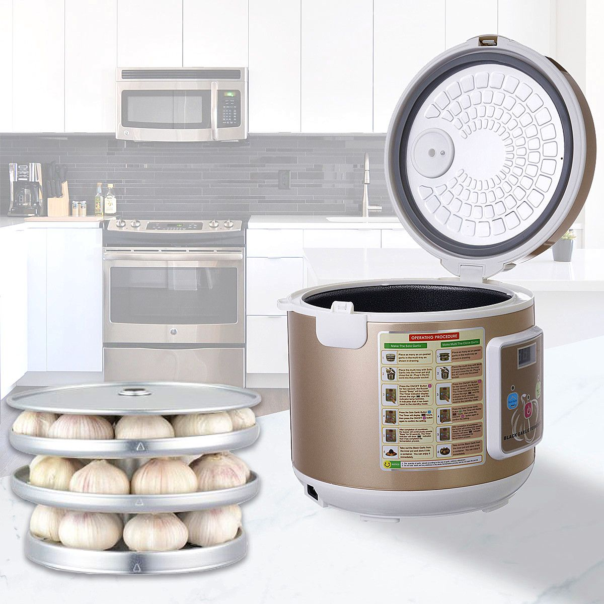 90W 5/6L Automatic Black garlic fermenter household DIY zymolysis zymosis pot maker 110V 220V black garlic fermenting machine
