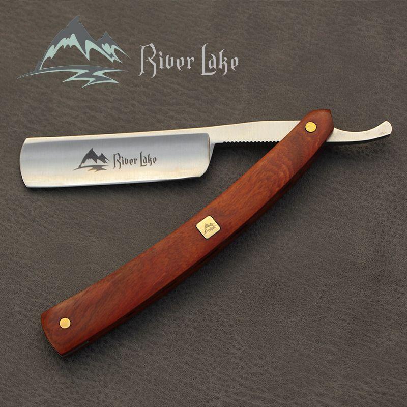 River lake barbier rasage rasoir droit ensemble rasoir droit poignée de rasage rasoir fait à la main en bois poignée en cuir rasoir strop