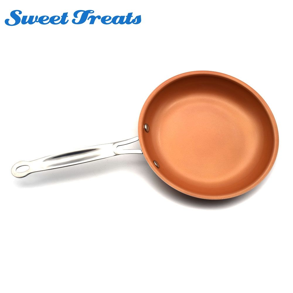 Cocotte en cuivre 8/10/12 inchantiadhésive avec revêtement en céramique et cuisson par Induction, four et lave-vaisselle