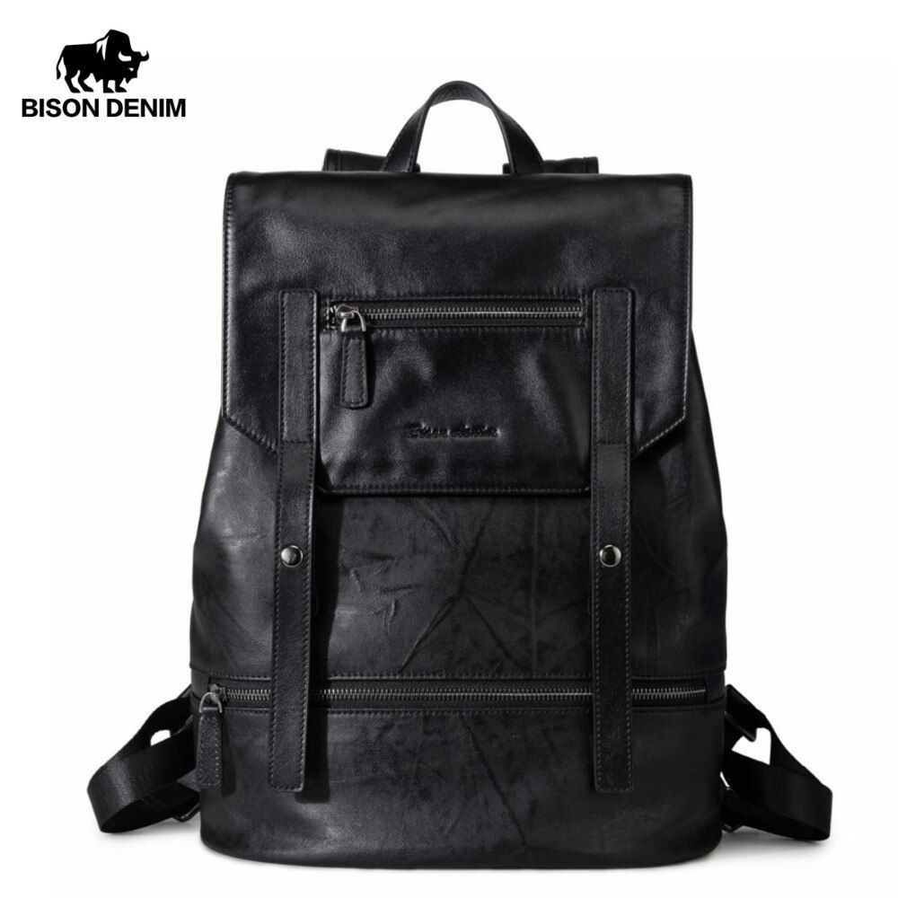 BISON DENIM Fashion Backpack for Teenagers Large Capacity Male 15