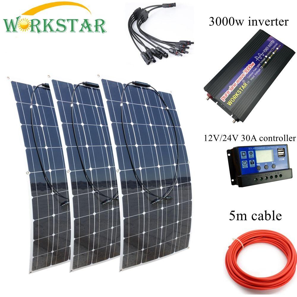 SUCHWORK 3*100 W Flexible Solar Panels 12 V Solar Ladegerät Für RV/Boot Auto 300 w Solar system Kit Mit 3000 w Reiner Sinus-wechselrichter