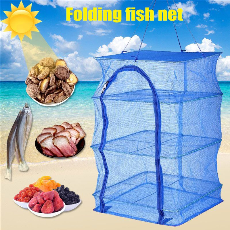 Foldable 4 Layers Drying Fishing Net Rack Hanging Vegetable Fish Dishes Dryer PE Hanger Fish Net 88 B2Cshop
