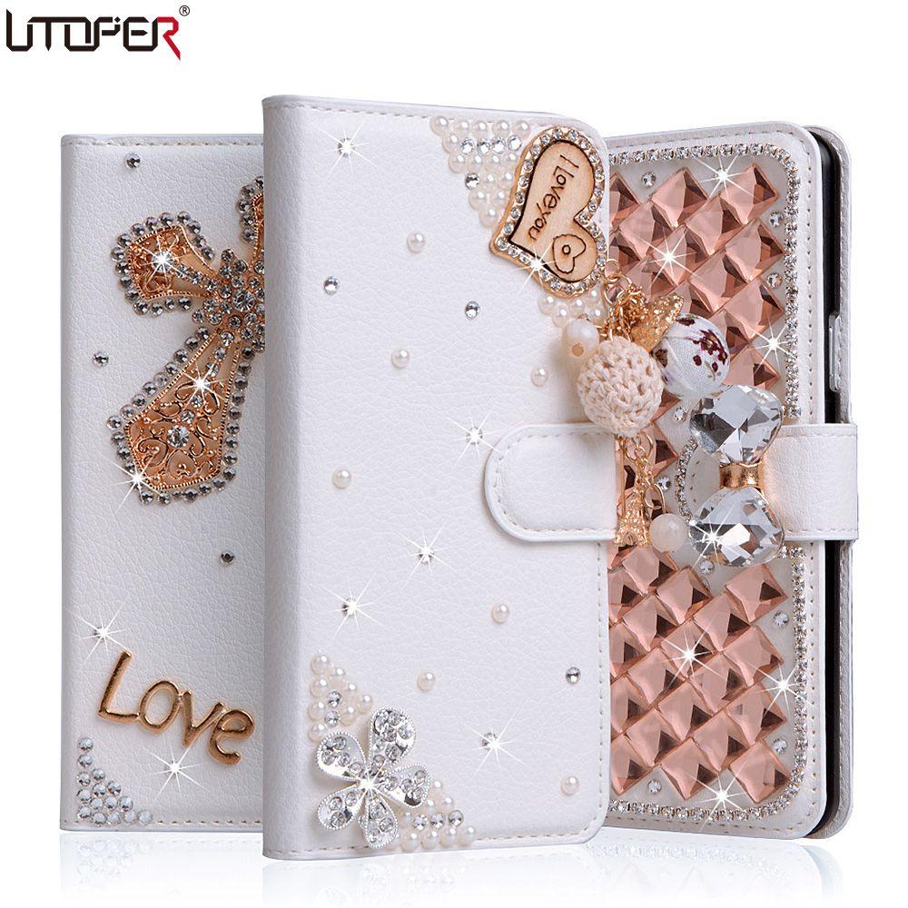 Luxe Strass Cas Pour LG K10 M2 F670 K410 K420N K430DS portefeuille PU Couverture En Cuir Filp Stand Bling Diamant de Téléphone À La Main Sac