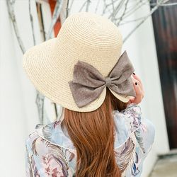 Jerami Topi Wanita Musim Panas Ringan Bernapas Sun Shade Sun Topi Bifurcated Busur Tabir Surya Matahari Pantai Topi Gratis Pengiriman Dijual
