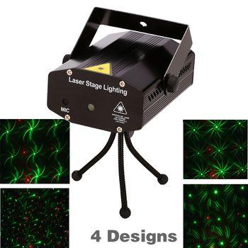 Розничная продажа 150 МВт 4in1 Мини Лазерная сценического освещения эффект лазерный проектор партии диско DJ Light 110-240 В со штативом