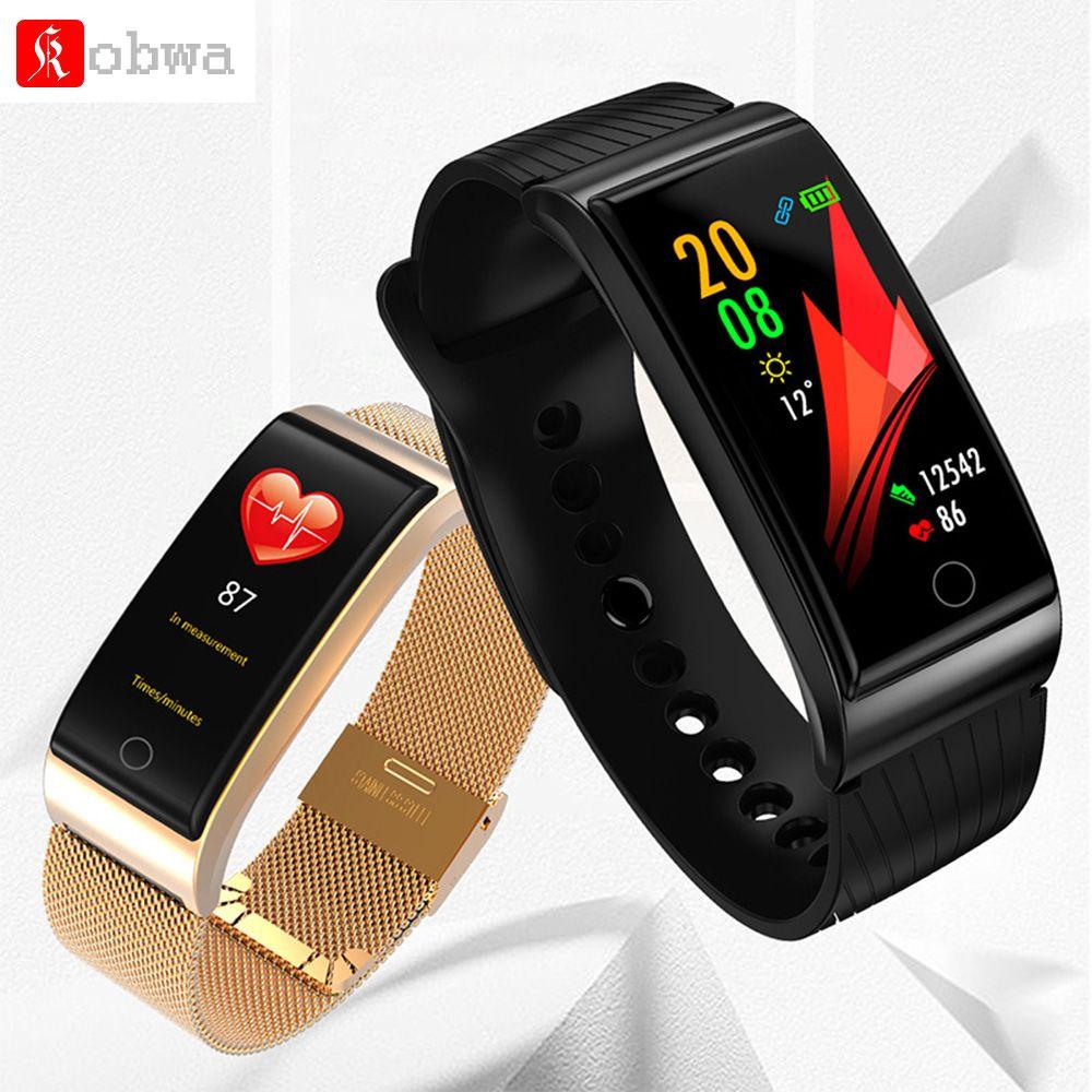 KOBWA F4 Metal Smart Band Wristband Blood Pressure Heart Rate Monitor Men Women Fitness Watch Pedometer Smart Bracelet
