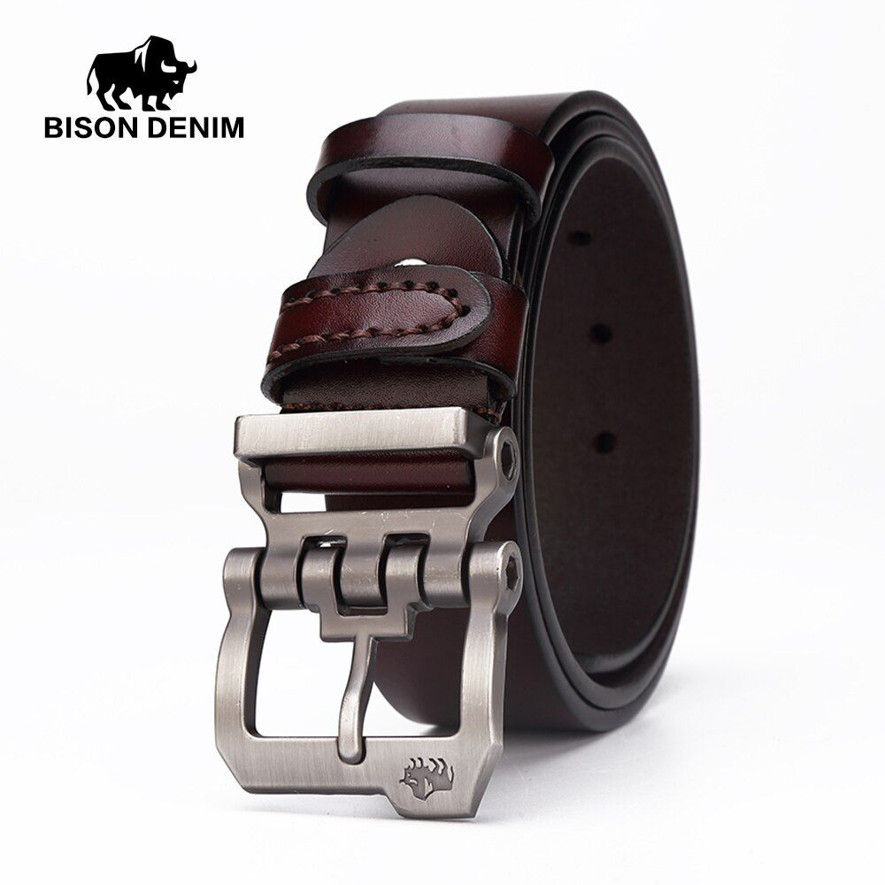 BISON DENIM genuine <font><b>leather</b></font> belt for men gift designer belts men's high quality Cowskin Personality buckle,Vintage jeans N71223