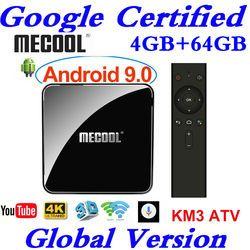 Google Certified Androidtv 9.0 MECOOL KM3 TV Box Android 9.0 4GB RAM 64GB ROM Amlogic S905X2 4K Voice 2.4G 5G Wifi BT4.0 KM3 ATV