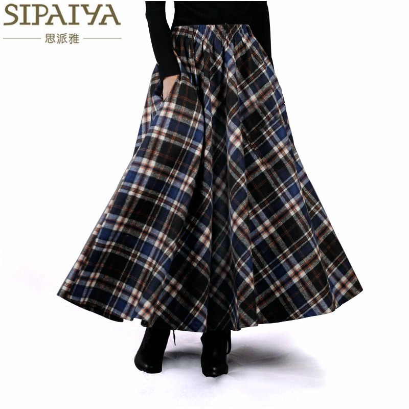 2017 Autumn Winter Women Skirt 50s <font><b>Vintage</b></font> and Retro Wool Maxi Elastic Waist Plaid Classical Thick Warm Saias Longa
