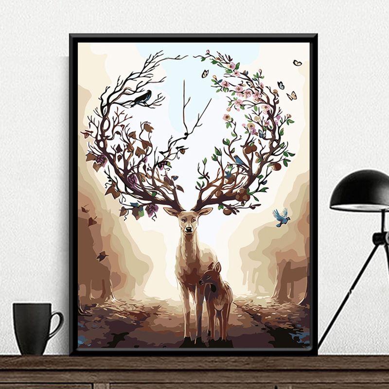 Peinture par numéros bricolage livraison directe 40x50 50x65cm forêt cerf et fils Animal toile mariage décoration Art image cadeau