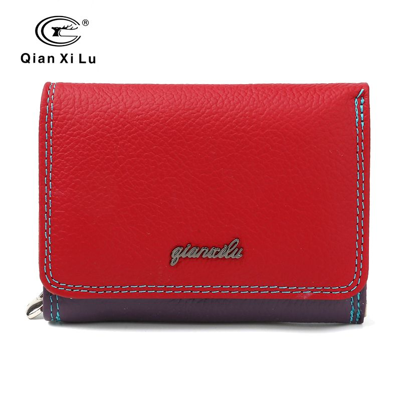 New Brand Genuine Leather Ladies Wallet Zipper and Hasp Purse Small Coin Purses Women Three Fold Candy Color Wallet Cowhide