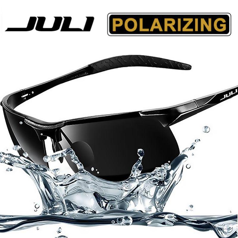 JULI Men's Sports Style Polarized Sunglasses For Men Travel Oculos Driving Golf Unbreakable Alumin magnesium Metal <font><b>Frame</b></font> Glasses