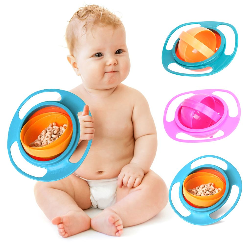 Baby Feeding Dish Cute Baby Gyro Bowl Universal 360 Rotate Spill-Proof Bowl Baby Food Feeding Boxes