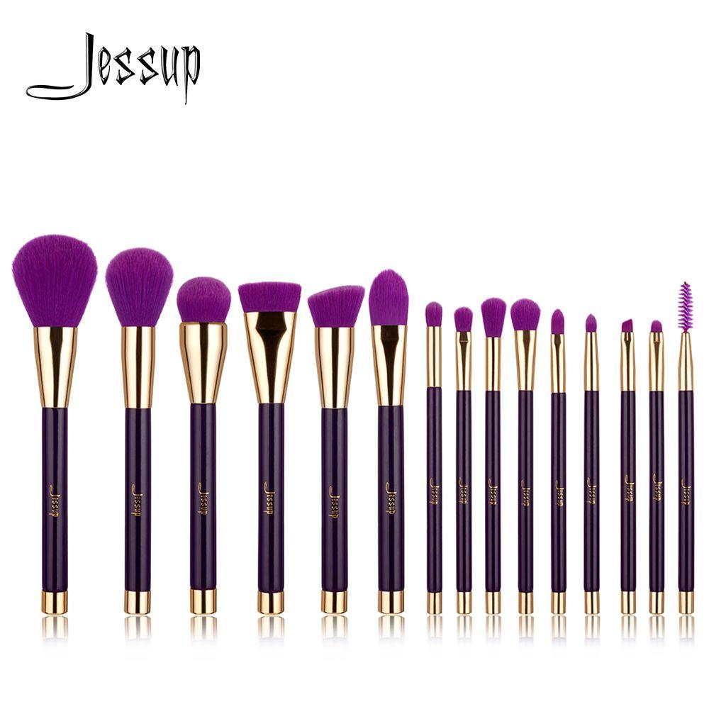 Jessup Brushes 15pcs Purple/Darkviolet Makeup Brushes Set Powder Foundation Eyeshadow Eyeliner Lip Contour Concealer Smudge