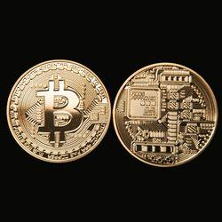 Oro plateado bitcoin moneda coleccionable moneda poco regalo colección de arte física Coin recuerdo con caja BTC001