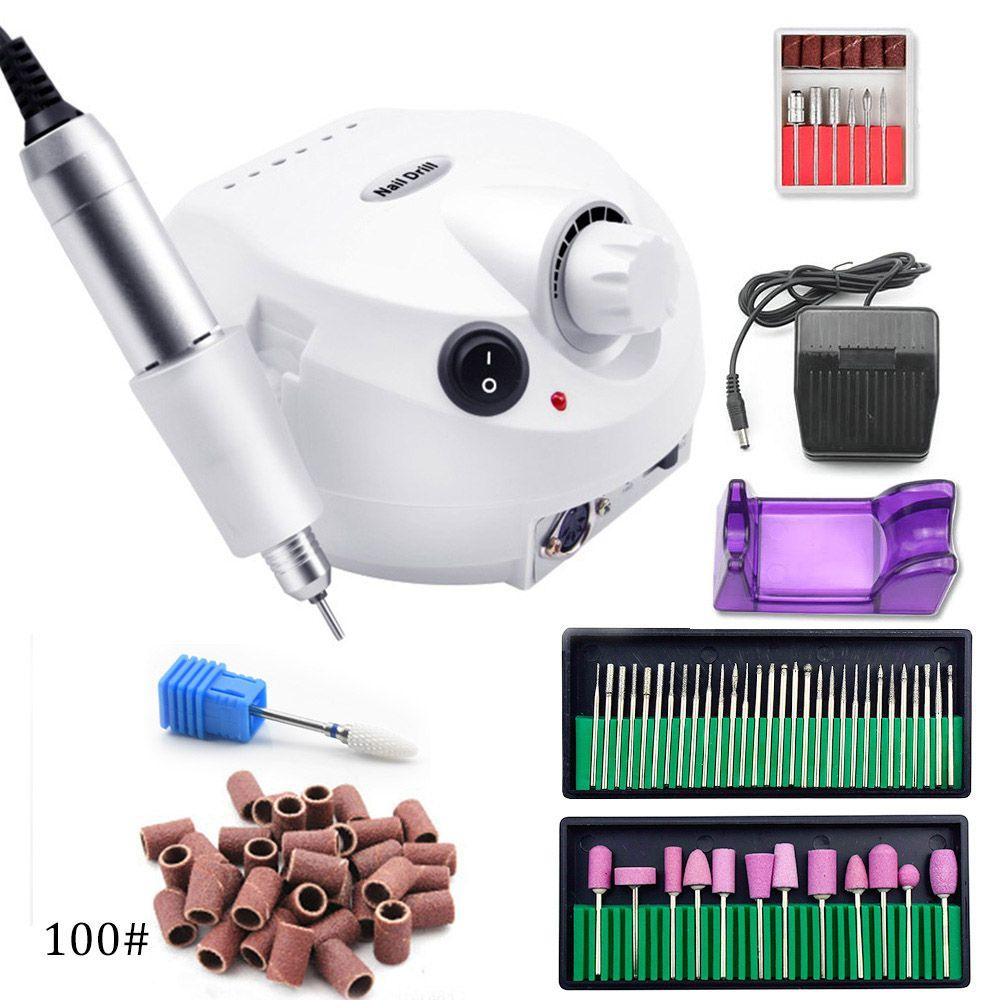 Pro 35000 tr/min perceuse à ongles électrique Machine à manucure Kit de lime avec nouvelle Version coque en silicone Anti-brûlure poignée outils à ongles