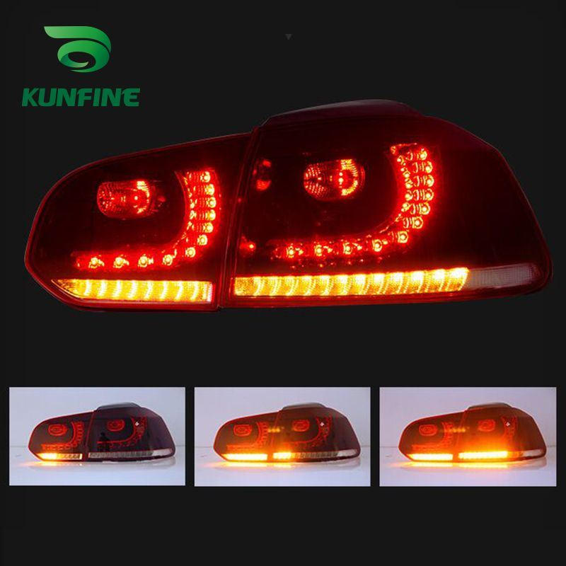 2018 Pair Of Car Tail Light Assembly For VW GOLF 6 2008-2013 LED Brake Light With Flowing Water Flicker Turning Signal Light