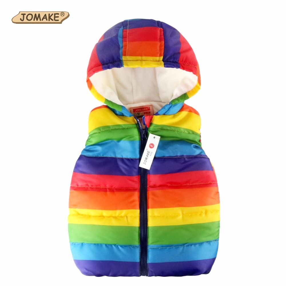 Autumn Boy Vests Jacket Kids Clothes Rainbow <font><b>Striped</b></font> Fashion Children Clothing Girl Hooded Waistcoat Casual Baby Boys Vest Coats