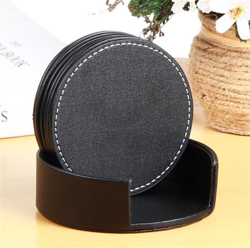 120pcs/lot Navpeak High Quality Durable PU Leather Coffee Cup Mat Waterproof Round Cup Coaster Tea Pad for Home Decoration