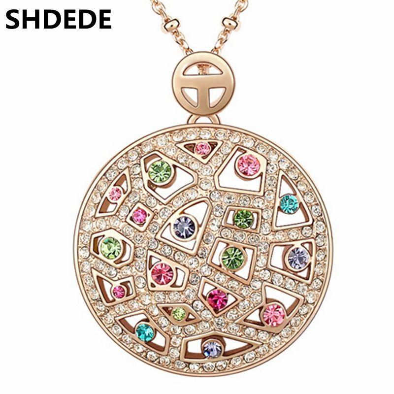 SHDEDE haute qualité cristal de Swarovski Vintage colliers pendentifs grand rond mode bijoux 2018 à la mode femmes Choker-3537
