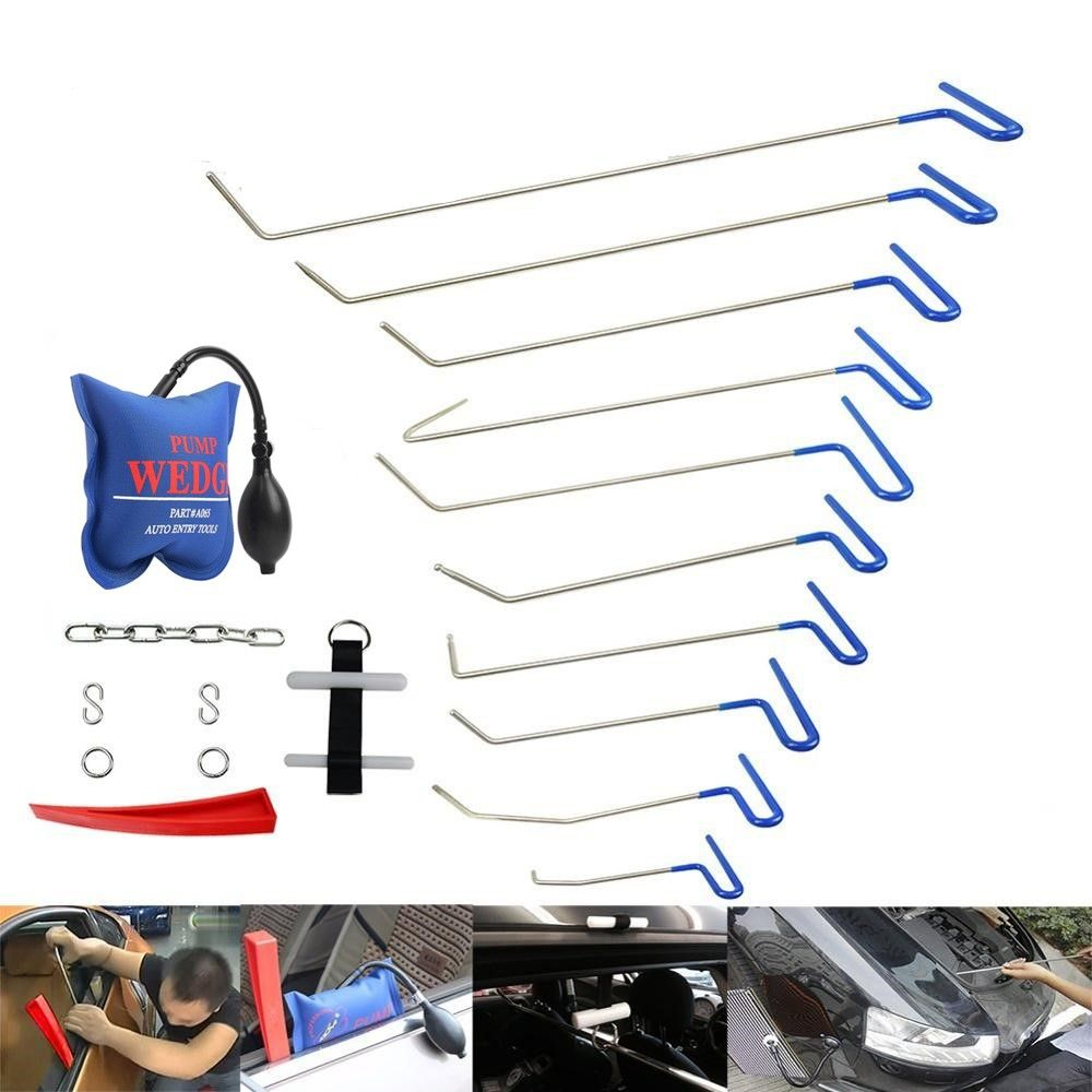 PDR Rods Paintless Dent Repair Tool Set Removal of Dents and Door Ding with Rods PDR Hook Car Auto Body Dent Removal