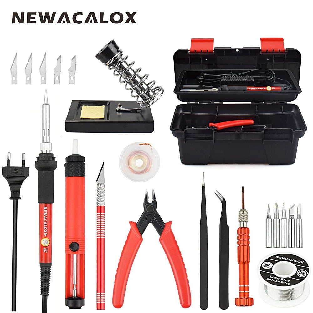 NEWACALOX Red EU 220V 60W Adjustable Temperature Electrical Soldering Iron Kit Welding Repair Tool Set with Tool Box 25pcs/lot
