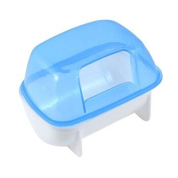Pet Hamster Bathroom Bath Sand Room Sauna Toilet Blue White 10x7x7cm