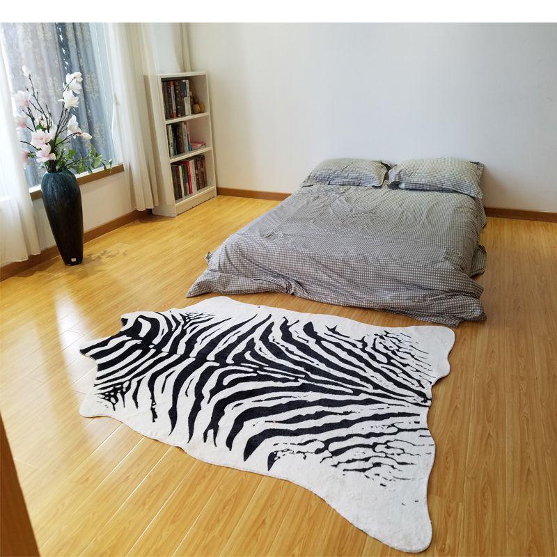 zebra printed rug animal faux skin cowhide carpet Big Size 2X1.4M black white mat Imitation Leather Mat for clothing store