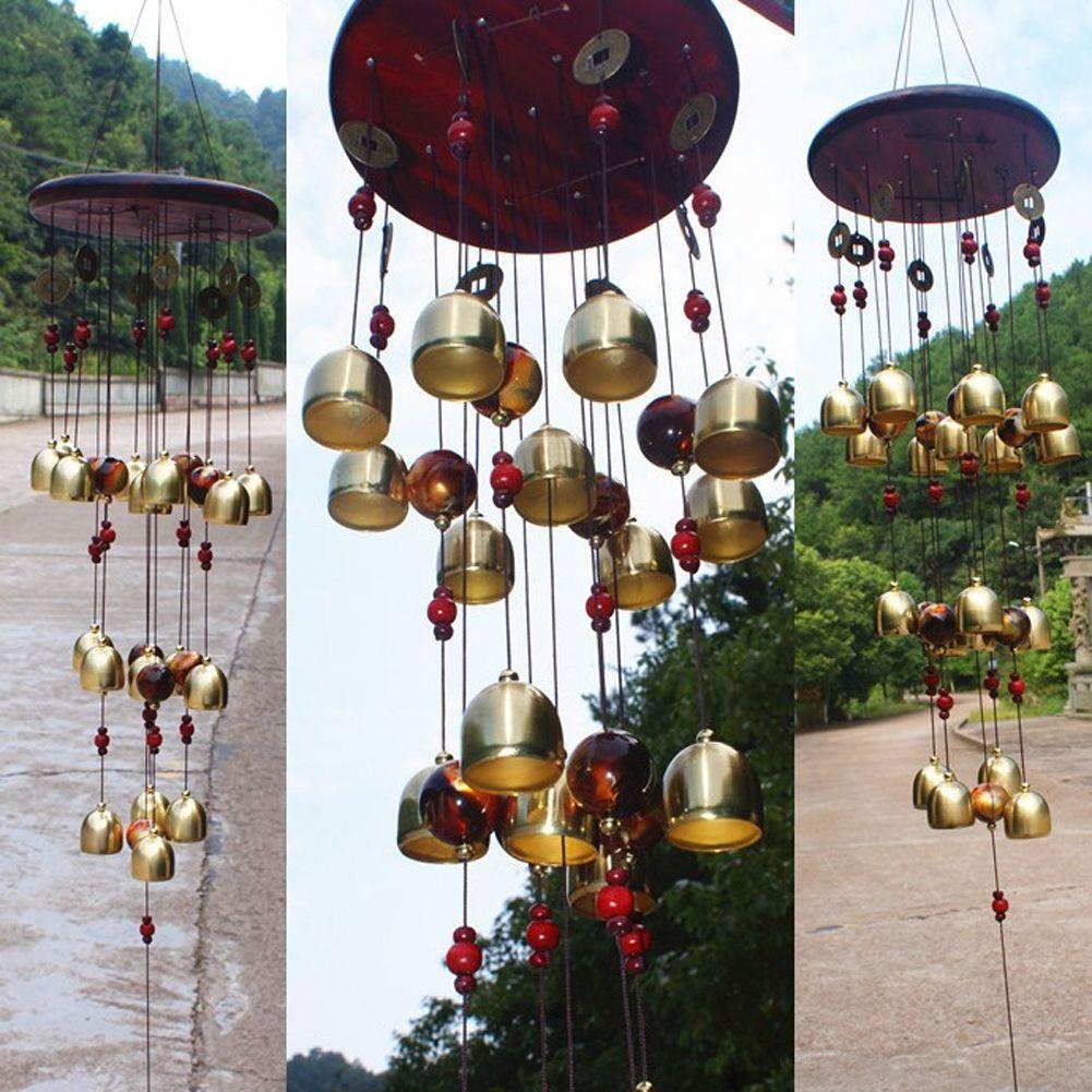 18 Cloches De Cuivre Vent Carillons Feng Shui Marchandises pour Cour Jardin Décoration Extérieure Carillons Windbell De Mascotte Cadeaux