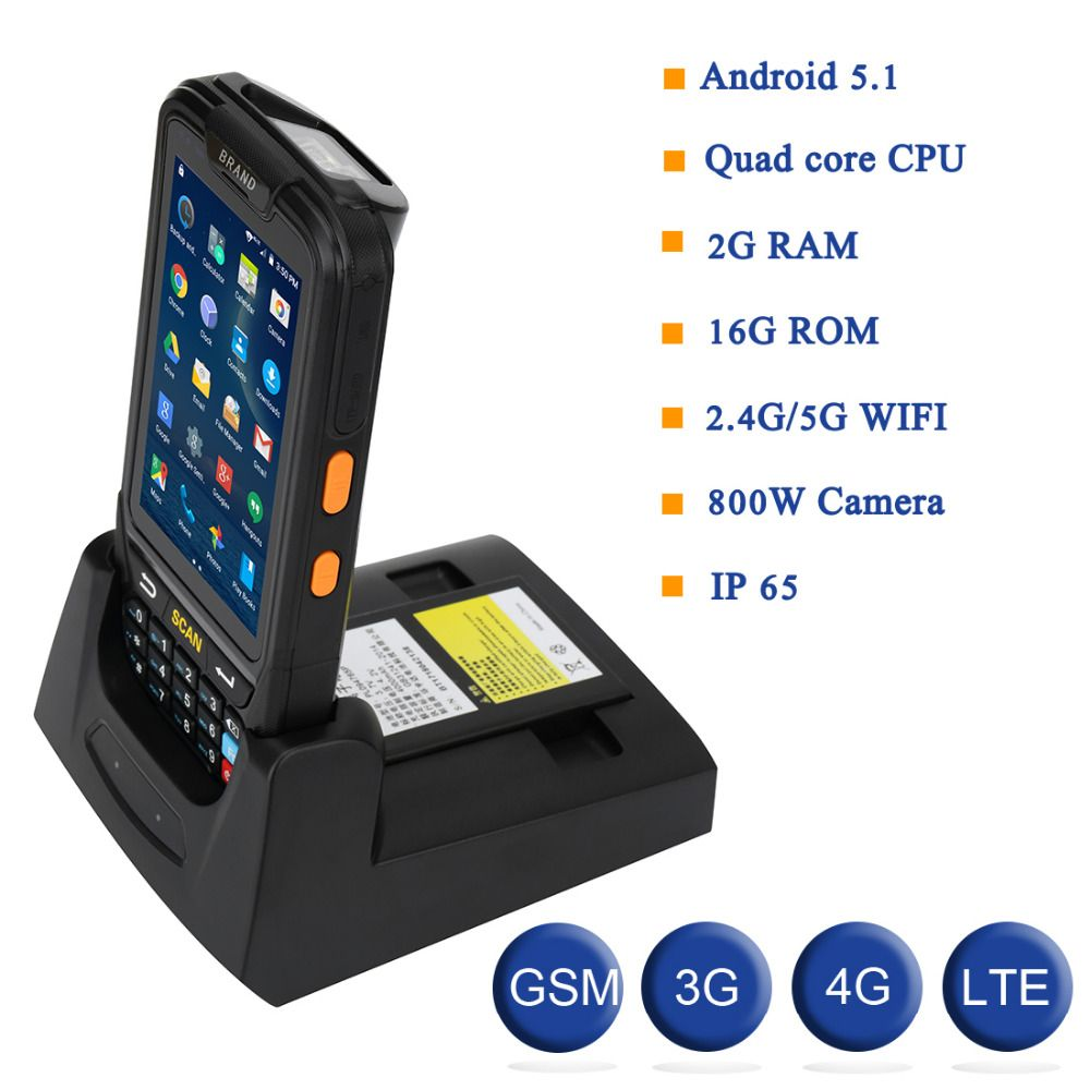 Updated Android 7.0 Handheld Portable Android PDA 1D 2D Mobile Data Collector POS Terminal With Charger Wifi/Bluetooth/3G/NFC
