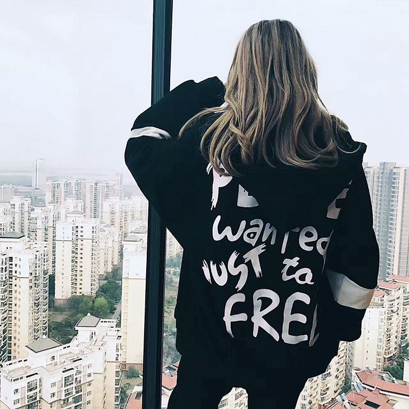 Women Long Sleeves Oversized Letter Print Harajuku T-shirt Zipper Loose Sweatshirt And Pullover Plus Size Bts Kpop Clothes