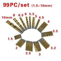 99pcs/Set Twist Drill Bit Set Saw Set HSS High Steel Coated Drill Woodworkin Tool 1.5-10mm For Cordless Screwdriver