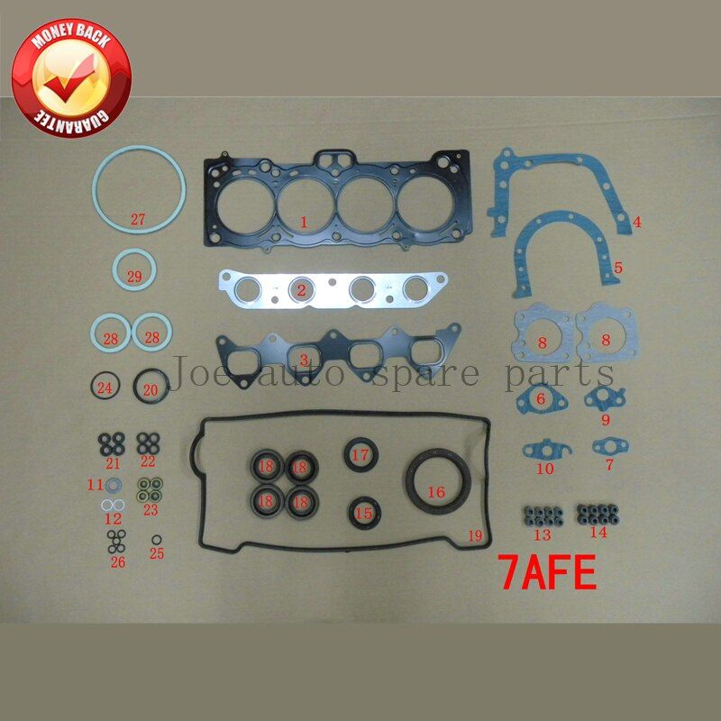 7A 7AFE Engine complete Full gasket set kit for Toyota Corolla 1.8L 1762cc 1992-1997 50136600 04111-16282 04111-16320 430557P
