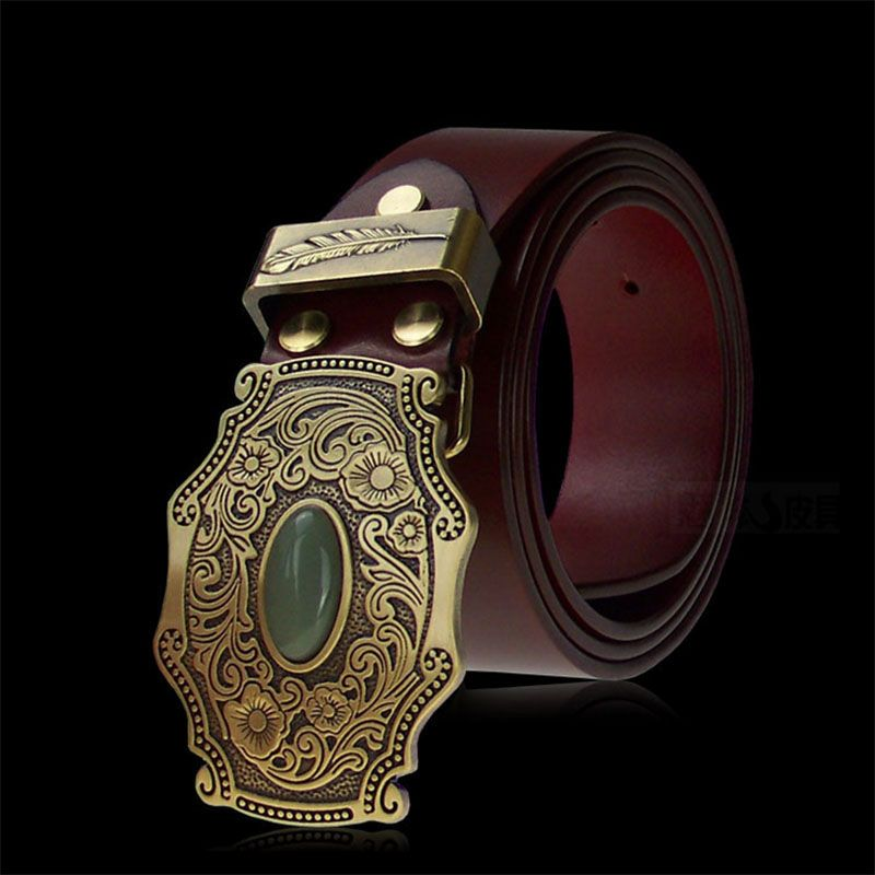 Vintage Do the Old Tang Grass Grain Inlaid Jade Brass Plate Buckle Luxury Designer Belts Men High Quality Smooth Buckle Leather