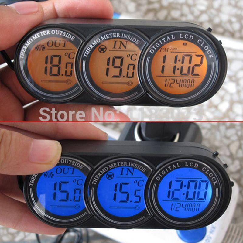 Marque LCD écran voiture à l'intérieur thermomètre extérieur véhicule horloge calendrier tension moniteur température mètre bleu/Orange rétro-éclairé