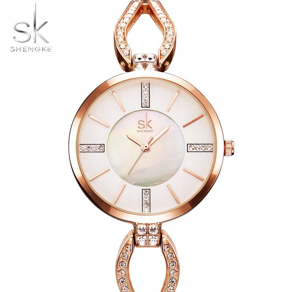 2017 sk Роскошные модные Дизайн браслет Часы Для женщин часы известные бренды золото Дамы Для женщин наручные Часы Relogio femininos